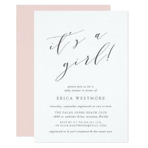 It's a Girl | Calligraphy Baby Shower Invitation