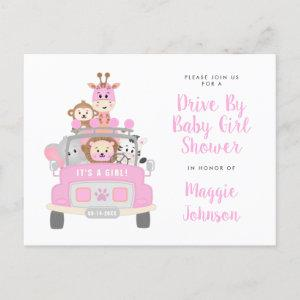 It's a Girl Drive By Safari Pink Baby Shower Invitation Postcard