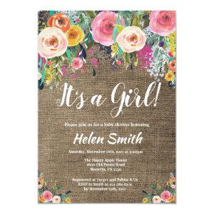 It's A Girl Floral Baby Shower Invitation Burlap