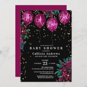 It's a Girl Glitter Balloons Floral Baby Shower Invitation