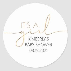 It's A Girl Gold Script Baby Shower Classic Round Classic Round Sticker