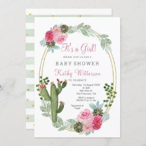 It's a Girl Pink Cactus Floral baby shower Invitation