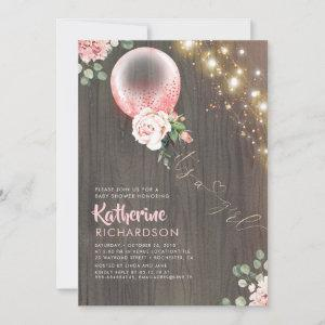 It's a Girl Pink Gold Balloon Rustic Baby Shower Invitation