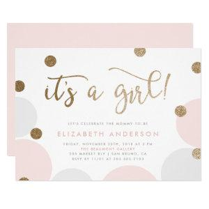 It's a Girl! | Pink & Gold Confetti Baby Shower Invitation
