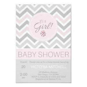 It's a Girl Pink/Grey Chevron Baby Shower Invitation