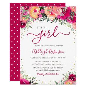 It's A Girl | Pink Watercolor Flowers Baby Shower Invitation