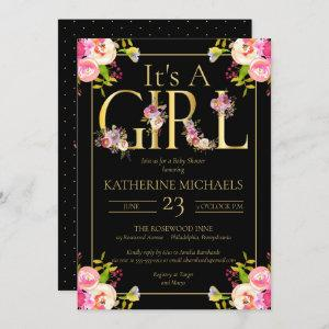 Its A Girl Watercolor Blooms Floral Baby Shower Invitation
