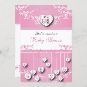 It's A Girl White Hearts - Baby Girl Shower Invitation