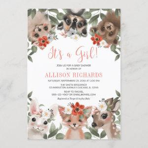 It's a Girl woodland animals forest baby shower