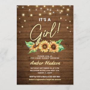 It's a Girl Yellow Sunflower Baby Shower Sprinkle Invitation