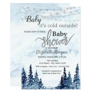 It's Cold Outside Winter Forest Baby Shower Invitation