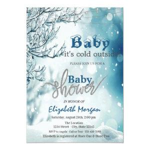 It's Cold Outside Winter Wonderland Baby Shower In Invitation
