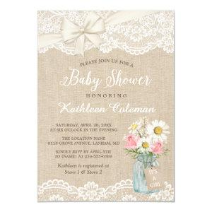 Ivory Lace Burlap Floral Mason Jar Baby Shower Invitation