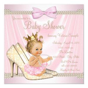 Ivory Pink Pearl High Heel Baby Shower Invitation