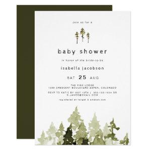 Jenna - Rustic Watercolor Pine Tree Baby Shower Invitation