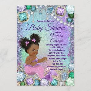 Jewel Mermaid Afro Hair Pink Mermaid Baby Shower Invitation
