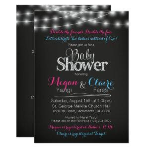 Joint Baby Shower Chalkboard Invitation Book Card