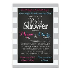 Joint coed Baby Shower Chalkboard Invitation Card