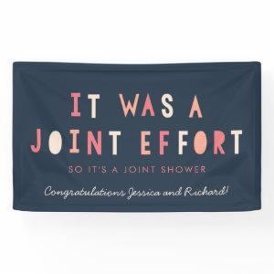 Joint Effort Couple's Baby Shower Banner // Navy