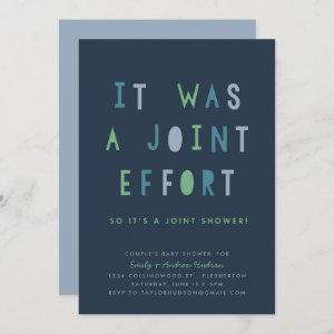 Joint Effort Couple's Baby Shower Invitation Blues