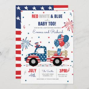 July 4th Baby Shower Red White Blue Baby Shower In Invitation