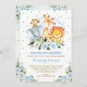Jungle Animals Blue Gold Floral Safari Baby Shower Invitation