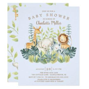 Jungle Animals Boys Baby Shower Invitation