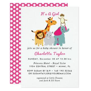 Jungle Animals Cute Baby Shower Invitation