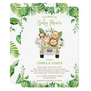 Jungle Animals Drive By Baby Shower Gender Neutral Invitation