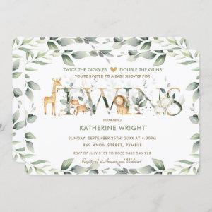 Jungle Animals Greenery Twins Neutral Baby Shower Invitation