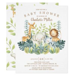 Jungle Animals Neutral Baby Shower Invitation