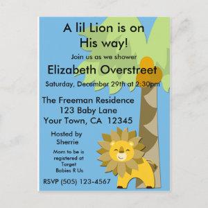 Jungle King Lion Baby Shower Blue Sky Zoo Safari Invitation Postcard