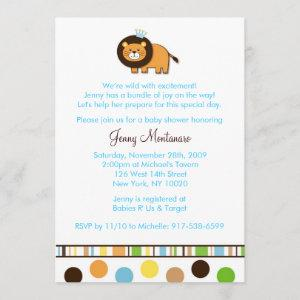 Jungle King Lion Custom Baby Shower Invitation