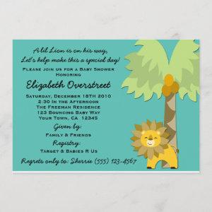 Jungle King Lion Teal Boy Baby Shower Zoo Safari Invitation
