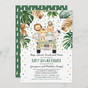Jungle Safari Animals Drive Through Baby Shower Invitation