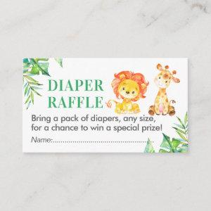 Jungle Safari Diaper Raffle Ticket Baby Shower Boy Enclosure Card
