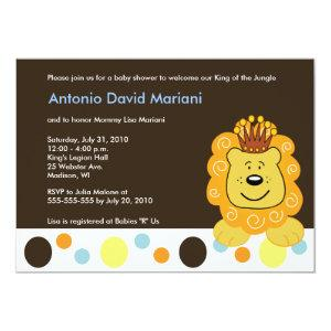 King of the Jungle Lion 5x7 Baby Shower Invitation