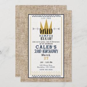 King Wild Thing Gold Crown Burlap Birthday Party