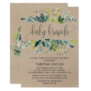 Kraft Foliage Baby Brunch Invitation