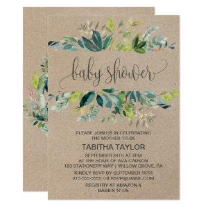 Kraft Foliage Baby Shower Invitation