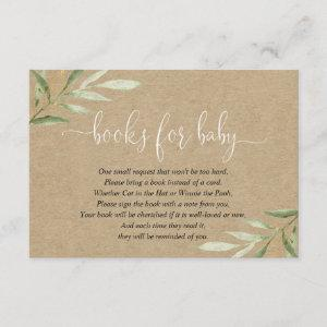 Kraft green leaves book request books for baby enclosure card