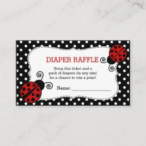 Ladybug Baby Shower Diaper Raffle Ticket Enclosure Card