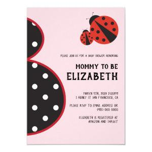 Ladybug baby shower invitation pregnant silhouette