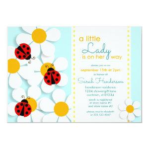 Ladybugs and Daisies Baby Shower Invitations