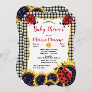 Ladybugs and Sunflowers Girl Baby Shower Invitation