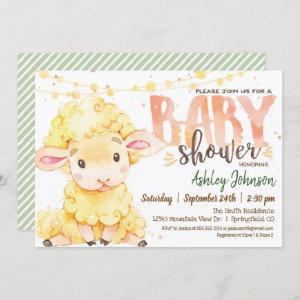 Lamb / Sheep Farm Baby Shower invitation
