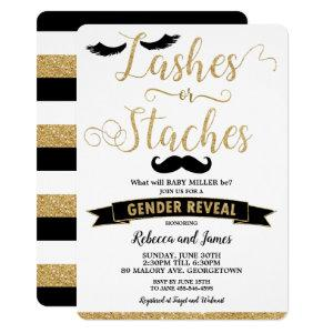 Lashes or Staches Gender Reveal Baby Shower Gold Invitation