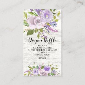 Lavender Floral Baby Shower Diaper Raffle Ticket Enclosure Card
