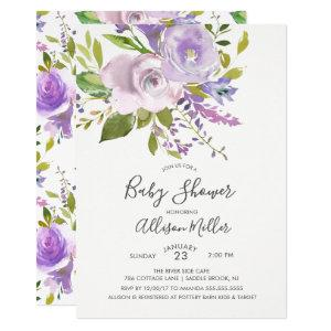 Lavender Floral Baby Shower Invitation