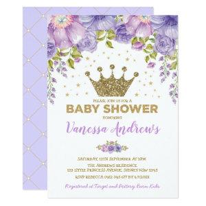 Lavender Gold Crown Princess Floral Baby Shower Invitation